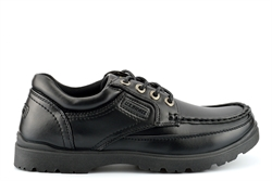 US Brass Mens Stubby Boat Shoes With Rugged Sole And Lace Up Fastening Black