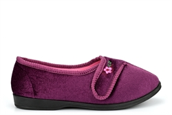 Sleep Boutique Womens Velcro Slippers With Embroidered Flower Detail Burgundy