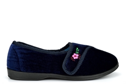 Sleep Boutique Womens Velcro Slippers With Embroidered Flower Detail Navy