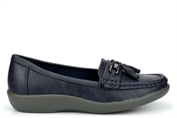 Boulevard Womens Tassel Loafers With Slight Wedge Heel Navy