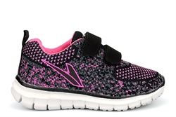 Dek Girls Super Lightweight Trainers With Two Touch Fastening Straps Black/Fuchsia