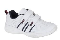 Dek Boys Touch Fasten Trainers With Twin Strap Fastening White