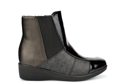 Stefania Womens Ankle Boots With Low Wedge Heel Black