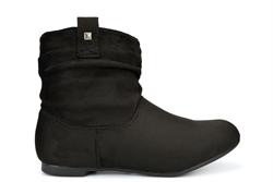 Womens Slouch Boots Ankle High Faux Suede Black