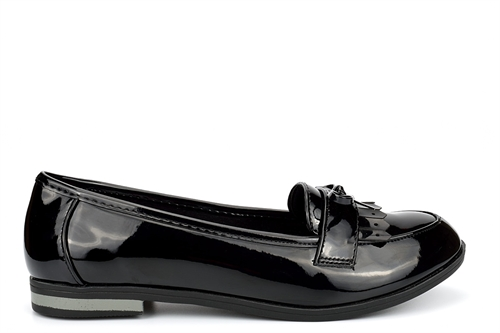 US Brass Girls Bow Detail Slip On School Shoes Patent Black