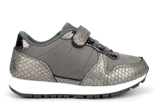Girls Touch Fasten Trainers With Elasticated Laces Pewter