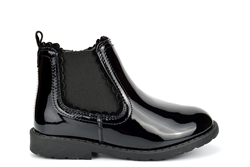 US Brass Girls School Boots With Side Zip Fastening Patent Black