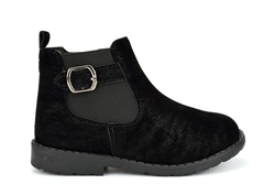 US Brass Girls Ankle Boots With Faux Suede Upper and Buckle Detail Black