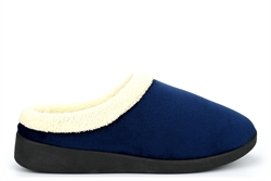 Sleep Boutique Womens Mule Slippers With Soft Fleece Lined Insole Navy