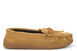 Sleepers Mens Real Leather Suede Moccasin Slippers With Rubber Sole Sand