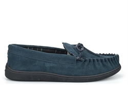 Sleepers Mens Real Leather Suede Moccasin Slippers With Rubber Sole Navy