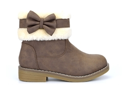 Lovely Skull Girls Ankle Boots With Warm Faux Fur Lining Brown