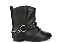 Spot On Girls Cowboy Boots With Very Low Heel Black
