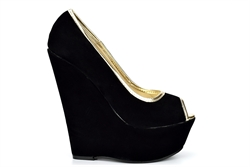 Womens Peep Toe Platform Wedges With Faux Suede Upper Black