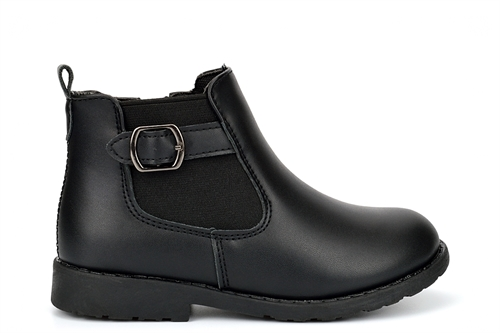 US Brass Girls Ankle Boots With Buckle Detail And Side Zip Fastening Black