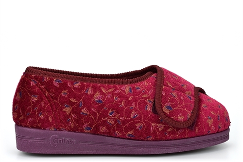 Comfylux Womens Super Wide Fit Slippers With Touch Fastener Burgundy (EEEE Fitting)