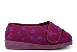 Comfylux Womens Superwide Washable Slippers With Genuine Velcro Fastening Burgundy (EEEE Fitting)