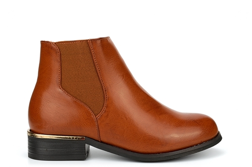 Little Diva Girls Ankle Boots With Faux Leather Upper Tan