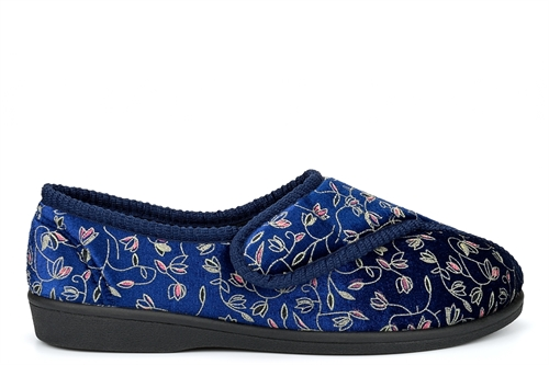 Zedzzz Womens Touch Fasten Washable Slippers Navy Blue