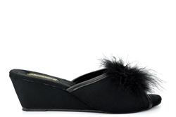 Sleepers Womens Jewelled Rosette Boa Wedge Mule Slippers Black