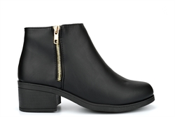 Krush Womens Mid Heel Ankle Boot With Decorative Zip Detail Black