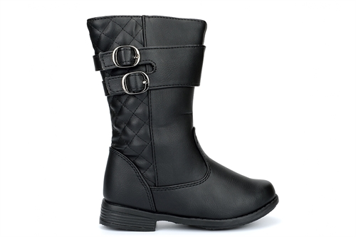 Chatterbox Girls Calf Boots With Double Buckle Detail Black