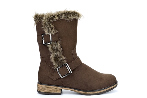 Womens Faux Suede Calf Boots With Double Buckle Detail Brown