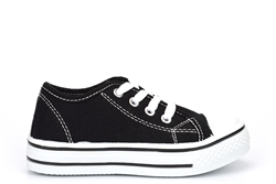 Urban Jacks Boys/Girls Classic Low Top Canvas Shoes Black/White