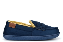 Jo & Joe Boys Moccasin Slippers With Faux Fur Lining Navy