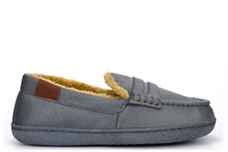 Jo & Joe Boys Moccasin Slippers With Faux Fur Lining Grey