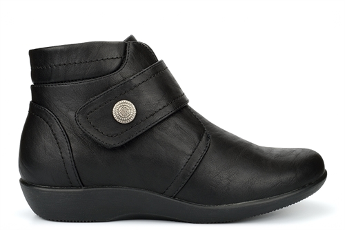 Boulevard Womens Wide Fit Ankle Boots With Touch And Zip Fastening Black (EE Fitting)