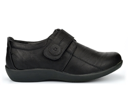 Boulevard Womens Wide Fit Shoes With Touch Fastening Black (EE Fitting)
