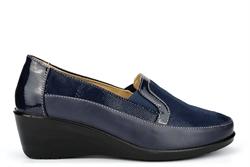 Moenia Womens Comfort Casual Wedge Heel Shoes Navy