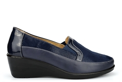 Moenia Womens Comfort Casual Wedge Heel Shoes Navy
