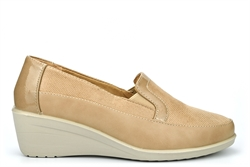 Moenia Womens Comfort Casual Wedge Heel Shoes Beige
