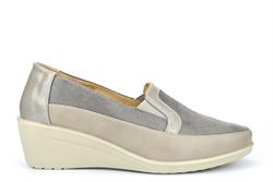 Moenia Womens Comfort Casual Wedge Heel Shoes Grey