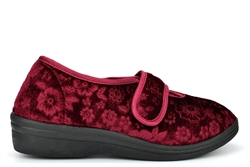Cosies Womens Low Wedge Slippers With Touch Fastening And Embossed Flower Detail Burgundy