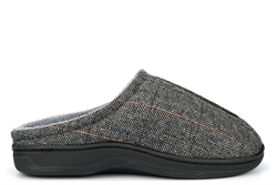Cosies Mens Memory Foam Mule Slippers With Fleece Lining Grey