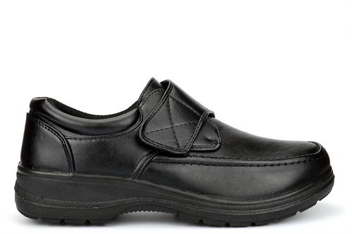Charles Southwell Mens Wide Comfort Fit Lightweight Shoes With Touch Fastening Black (E Fitting)
