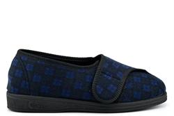 Comfylux Mens Superwide Washable Slippers With Touch Fastener Navy (EEEE Fitting)