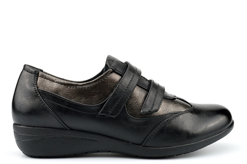 Boulevard Womens Touch Fasten Casual Shoes With Low Wedge Heel Black/Pewter