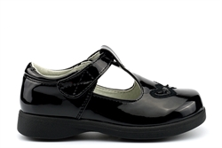 Boulevard Girls T-Bar Touch Fasten School Shoes Patent Black