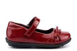 US Brass Girls Touch Fasten Bow Detail Shoes Patent Burgundy