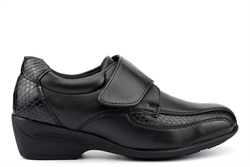 Dr Keller EVA Womens Leather Shoes With Medium Block Heel And Touch Fastening Black
