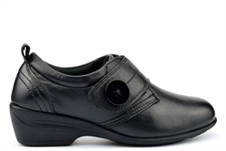 Dr Keller ENA Womens Leather Shoes With Medium Block Heel And Touch Fastening Black