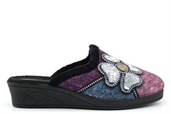 Sleepers KIMBERLY Womens Mule Slippers With Low Wedge Heel Black/Purple/Blue