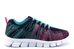 Dek STARLIGHT Womens Superlight Lace Up Trainers With Memory Foam Insole Navy/Aqua/Fuchsia