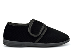 Jo & Joe Mens Cord Slippers With Touch Fastening Strap Black