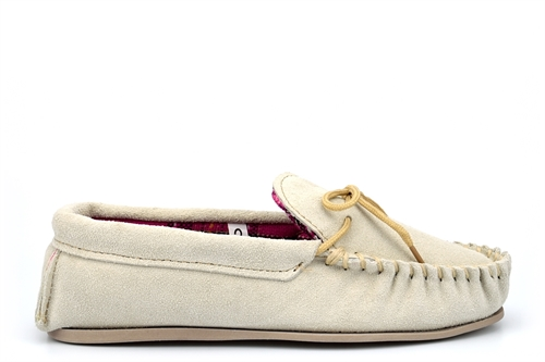 LodgeMok Womens Real Suede Moccasin Slippers Beige