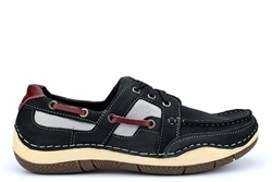 Seafarer Helmsman Mens Leather Boat Shoes Black
